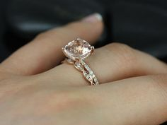 Heidi Grande Size & Ember 14kt Rose Gold Cushion Morganite and Diamond Wedding Set (Other metals and stone options available)