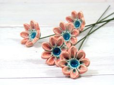 Ceramic flowers Spring decoration  Handmade ceramic by orlydesign, $40.00