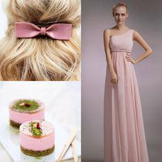 vestito da sera stile impero pink monospalla chiffon