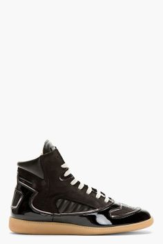 MAISON MARTIN MARGIELA Black Leather Panelled High-Top Sneakers