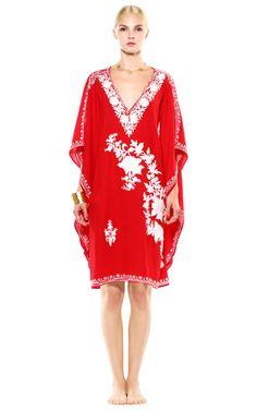 Red And White Short Cotton Kaftan by Pas Pour Toi for Preorder on Moda Operandi