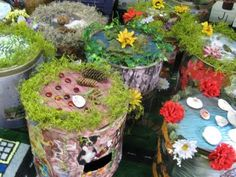 Fairy caves from 'up-cycled' materials - fun whimsy for the garden.