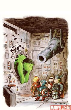 Avengers Art Appreciation Variant: Incredible Hulk #7. The team drawn Pooh-style. Cover by Charles Paul Wilson III