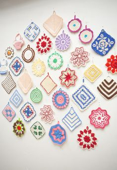 Wall of colorful doilies. So pretty