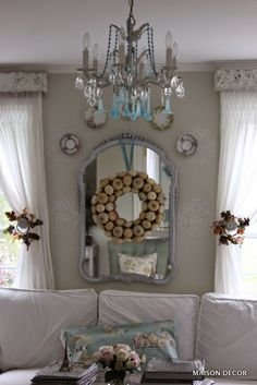 Hang your HomeGoods wreaths from mirrors and add small wreaths to curtain holdbacks for easy fall decorating! #wreaths #fall #thanksgivingdecor #sponsored