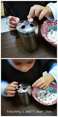 A Collection of Tray Activities - Teaching 2 and 3 year olds. Pushing Pom through a toothbrush holder