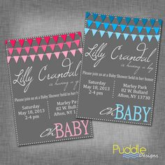 Ombre Flags Baby Shower Invitation by PuddleDesign on Etsy, $8.00