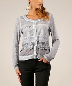 This Gray Lace & Mesh Button-Up Top is perfect! #zulilyfinds
