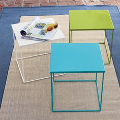 metal side tables - love the bright green!