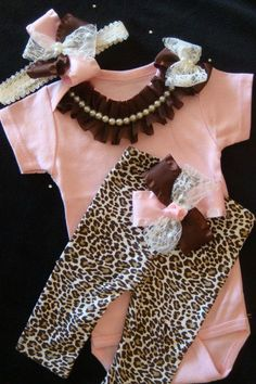 NEWBORN baby girl take home outfit   complete onesie bodysuit  leopard print pants brown pink  lace ribbon bows   rhinestone pearl