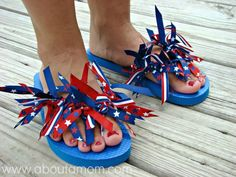 DIY Ribbon Flip Flops - This under 5 dollar project is perfect for the 4th of July or any holiday!