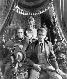 Henry Fonda, James Stewart and Shirley Jones in Cheyenne social Club