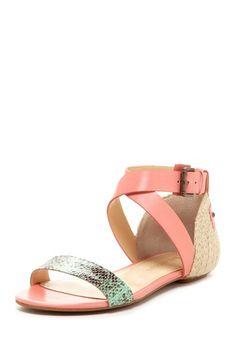 Coral + python sandals