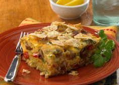 Mexican Tortilla Breakfast Casserole made with Johnsonville Hot & Spicy Breakfast Sausage Links