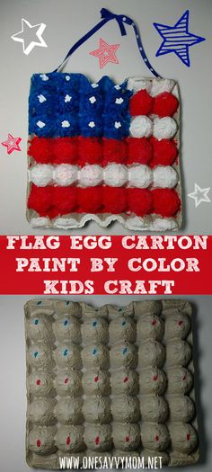 4th of July Flag Egg Carton paint by color kids craft - Fun & Simple 4th of July Kids Crafts.