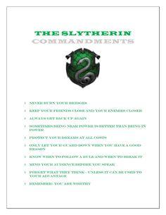 The Slytherin Commandments.