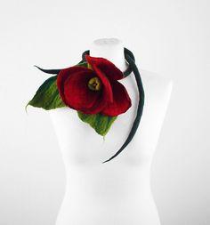 Felted Collar ALICE IN WONDERLAND felt Necklace Flower art jewerly nunofelt Nuno felt collar silk Fiber Art boho. $55.00, via Etsy.