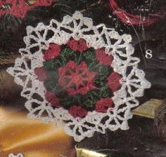 Free crochet pattern; rose Medallion Christmas ornament.