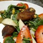 Wilted Spinach Salad with Smoked Apple Sage Sausage and Strawberries