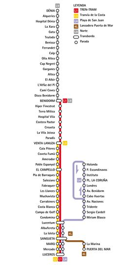 Alicante Underground: General Info    Alicante's subway was inaugurated in August 15, 2003 by Alicante Metropolitan TRAM. This system combines different modes of rail services: tram-train, metropolitan tramway, light metro rail and conventional train. In the future is planned to include a rapid transit bus. Alicante was the second city in Spain to reintroduce train-tram in its system. Train-tram can function as a train and as a tram with the advantages of both systems.