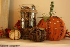 fall mantle decoration | Fall Decorating VS. the Ultra-Curious Trio - Meadow Lake Road
