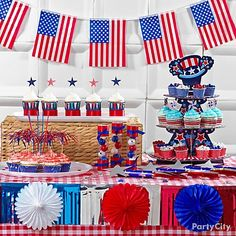 A backdrop of square white plates is perfect behind the dessert table. dessert tables, juli parti, food, parti citi, 4th of july, ideas party, sweet 4th, parti idea, themed parties