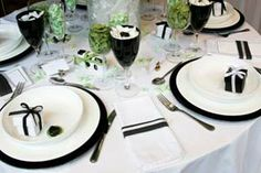 black and cream table decorations