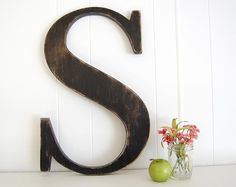 """12"""" wooden letter S - wall art signage rustic americana Lamp Black - Letter S on Etsy, $32.00"""