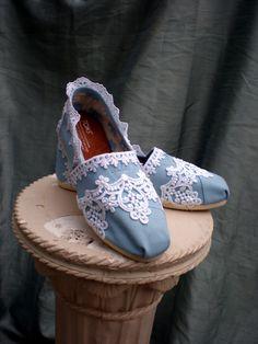 wedding toms, lace toms, toms, blue toms, custom toms