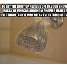 Cleaning shower head - tried this and it worked great!  Will be doing it again, often. ~Michele