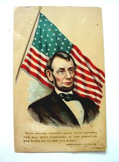 Antique Rotograph Patriotic Abraham Lincoln Postcard w/42 Star Flag