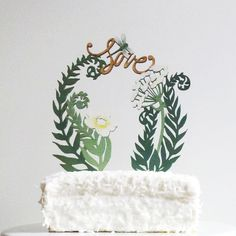The Shoppe By Madeline Trait: Fern Love Cake Topper adds something special to your cake but not to your wallet.
