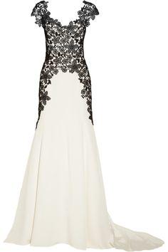 Lela Rose|Lace-appliquéd silk gown black white lace gown, lace appliquéd, appliquéd silk, black and white lace dress, gowns, roses, lela rose, silk gown, laceappliquéd