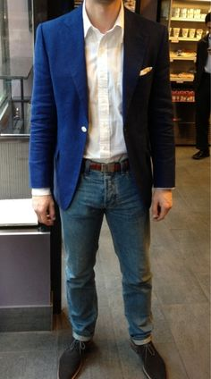 #menswear #Mens clothes #style #blue #kacket #pocketsquare #denim #jeans #casual#look #outfit findanswerhere.com/mensfashion