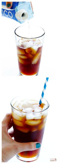 Coconut Water Iced Coffee -- naturally sweetened, easy to make, and SO good! | gimmesomeoven.com