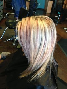 Blonde highlights with burgundy lowlights