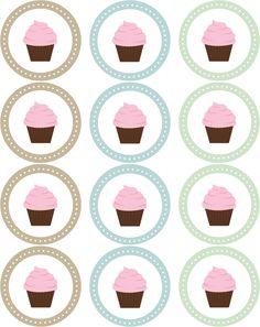 cupcak topper, printabl cupcak, cupcak sticker, cupcake toppers