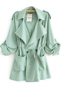 Green Drawstring Pockets Notch Lapel Cotton Trench Coat