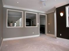 Gray Walls with Brown Accent Wall - Living Room