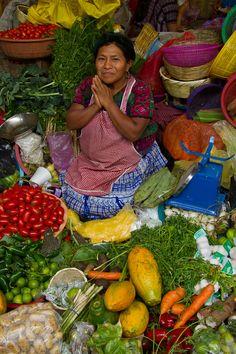Woman in Antigua Market in Guatemala. by Brenda Tharp