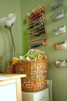 Thread and ribbon storage - go to this blog for even more storage ideas!  Great!