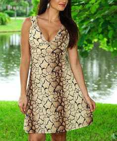 Look what I found on #zulily! Beige Reptile Cutout A-Line Dress by Modern Touch #zulilyfinds