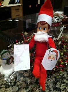 Elf on the Shelf wants to look like Santa....