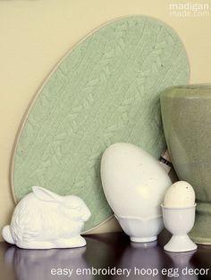 Easy Embroidery Hoop Egg Decor