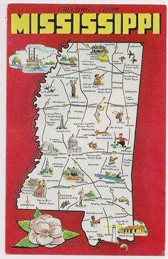 Retro Mississippi Tourist Map Postcard Souvenir
