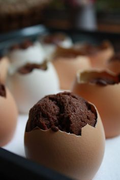 Eierkuchen * tiny cakes baked in egg shells * use your favorite cake butter and place shells on a baking pan filled with salt to prevent from falling over * madebyzilly