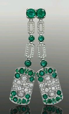 Bulgari Emerald, Diamond and Platinum Earrings, Delightfully Deco in Disposition.