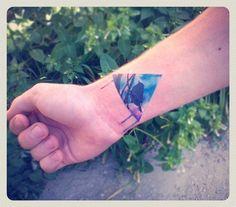 Blue Triangle Tattoo by vitalikdumyn tattoo idea, triangles, art, triangl tattoos3, tattoo inspir, blues, blue triangl