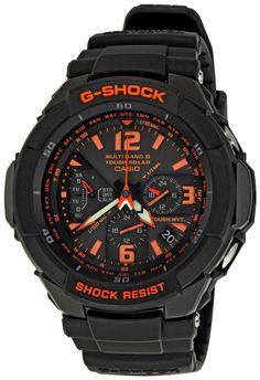 Casio Men Watches : Casio Men's GW3000B-1ACR G-Shock Solar Power Black With Orange Dial Watch