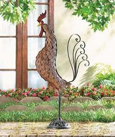 GARDEN ROOSTER--maybe use pennies??!!